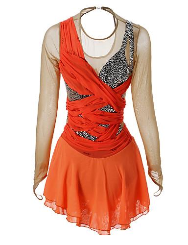 Eiskunstlaufkleid Damen Mädchen Eislaufen Kleider Orange Strass Hochelastisch Leistung Eiskunstlaufkleidung Handgemacht Klassisch Langarm