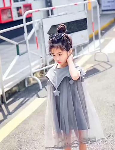 Menina de Vestido Sólido Outono Verão Algodão Acrílico Poliéster Sem Manga Floral Cinzento