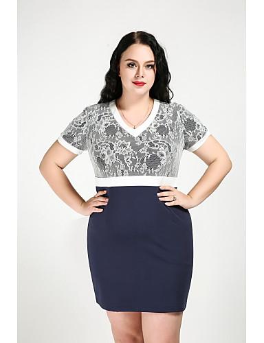 Women's Plus Size Vintage / Street chic Cotton Shift Dress - Patchwork Lace High Rise V Neck / Fall