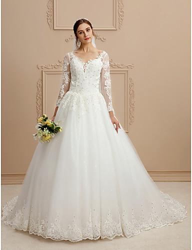 0b18e072b Salón Escote en Pico Capilla Tul   Encaje perlado Vestidos de novia hechos  a medida con