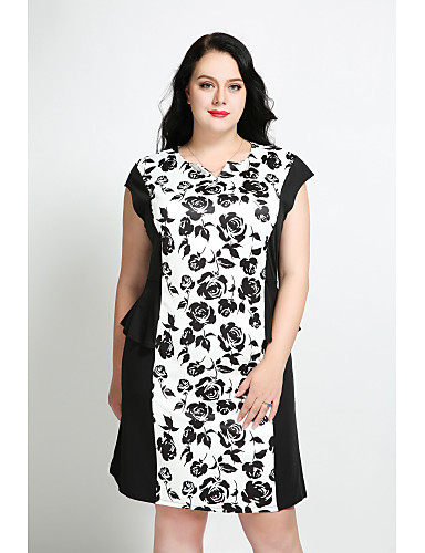 Women's Plus Size Vintage / Street chic Cotton Shift Dress - Floral V Neck
