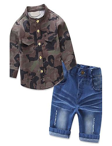 סט של בגדים כותנה אביב סתיו שרוול ארוך יומי בנים לבוש מהודר ירוק