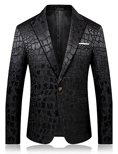 Men's Sophisticated Blazer-Solid Colored Notch Lapel / Long Sleeve