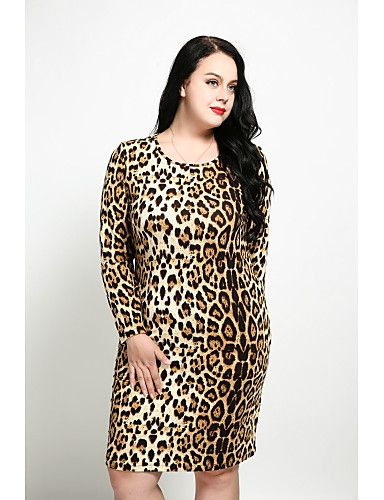 819835c8c0f Women s Plus Size Daily Vintage Sheath Dress - Leopard Fall Brown White  XXXXL XXXXXL XXXXXXL