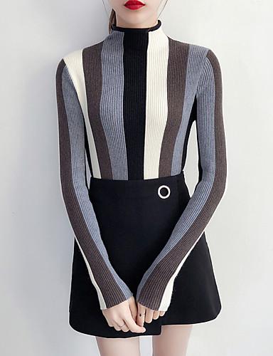 Damen Arbeit Langarm Schlank Pullover-Gestreift Ständer