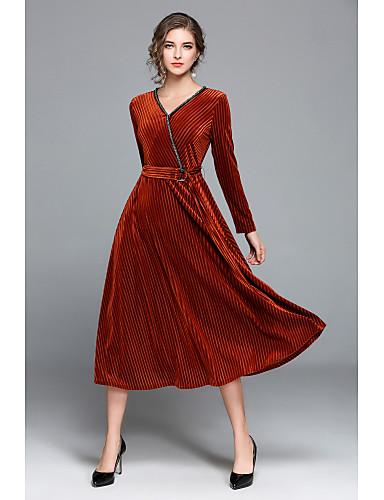 Damen Hülle Kleid-Ausgehen Lässig/Alltäglich Solide V-Ausschnitt Maxi Langarm Polyester Mittlere Hüfthöhe Unelastisch Mittel