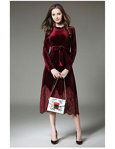 Damen Ausgehen Hülle Kleid Solide Knielang Rollkragen Hohe Taillenlinie