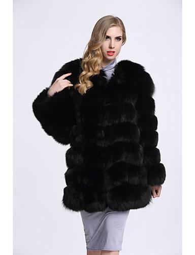 Damen Solide Einfach Freizeit Ausgehen Pelzmantel Winter Langarm Standard Fuchsfell