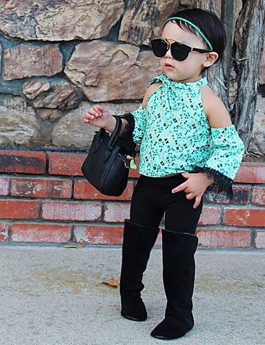 Komplet odzieży Bawełna Dla dziewczynek Kwiaty Wiosna Lato Długi rękaw Urocza Aktywny Moda miejska Black