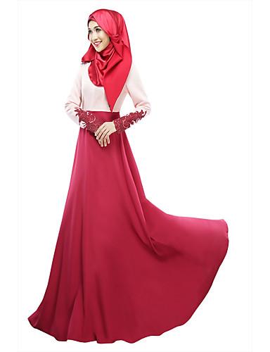 ddcd62c4a0d2 Women's Daily Jalabiya Dress - Color Block High Waist Spring, Fall, Winter,  Summer Gray Purple Wine L XL XXL