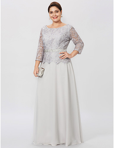 Plus Size Sheath / Column Jewel Neck Floor Length Chiffon Corded Lace Mother of the Bride Dress with Beading Sash / Ribbon by LAN TING BRIDE®