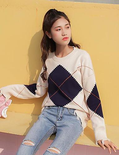 Damen Standard Pullover-Lässig/Alltäglich Druck Rundhalsausschnitt Langarm Baumwolle Mittel Mikro-elastisch
