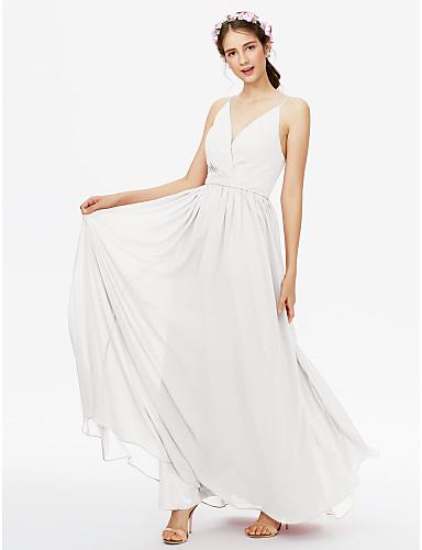 38ff41e2b95 A-Line V Neck Floor Length Chiffon Bridesmaid Dress with Sash   Ribbon    Criss Cross   Pleats by LAN TING BRIDE®   Open Back