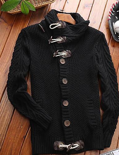 Herren Standard Pullover-Lässig/Alltäglich Solide Rollkragen Langarm Baumwolle Dick Mikro-elastisch