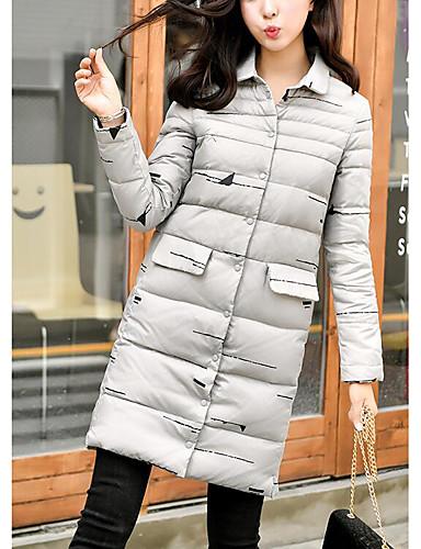 Damen Gefüttert Mantel Niedlich Ausgehen Solide-Polyester Langarm