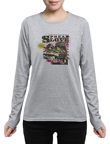 Damen Druck Chinoiserie Ausgehen Lässig/Alltäglich T-shirt,Rundhalsausschnitt Langarm Baumwolle Mittel