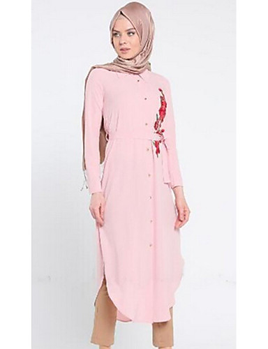 Damen Hemd Kleid-Alltag Stickerei Hemdkragen Midi Langärmelige Polyester Frühling Herbst Mittlere Hüfthöhe Mikro-elastisch Undurchsichtig