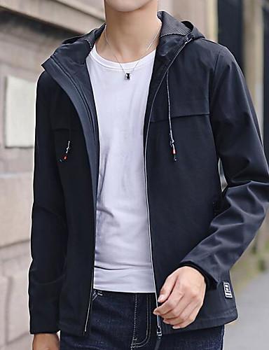 Herren Solide Einfach Lässig/Alltäglich Jacke Herbst Standard Polyester