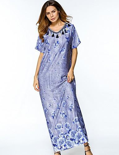 Damen Tunika Kleid Blumen Maxi