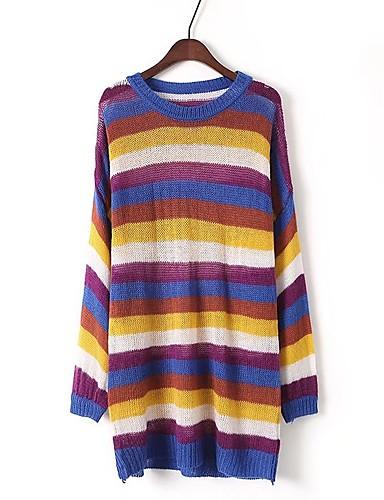 Damen Lang Pullover-Lässig/Alltäglich Ausgehen Gestreift Einfarbig Rundhalsausschnitt Langarm Baumwolle Andere Dick Mittel Mikro-elastisch