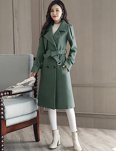 Damen Solide Einfach Freizeit Alltag Ausgehen Mantel,Hemdkragen Winter Langarm Lang Acryl Polyester