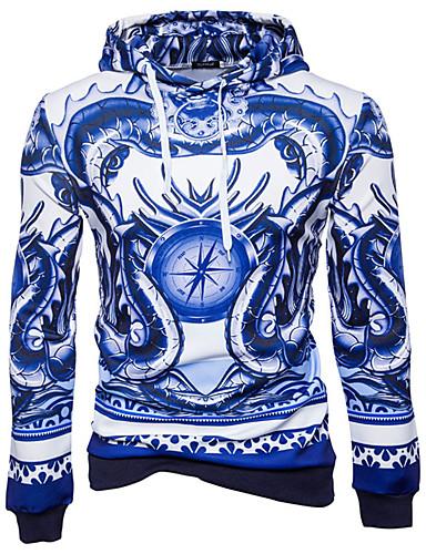 Męskie Na co dzień Moda miejska Długi rękaw Bluza z Kapturem Nadruk Kaptur