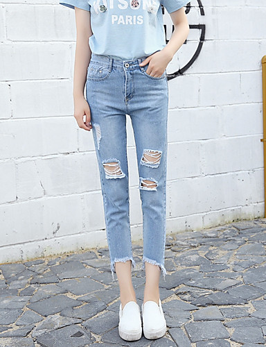 Damen Unelastisch Jeans Hose Solide