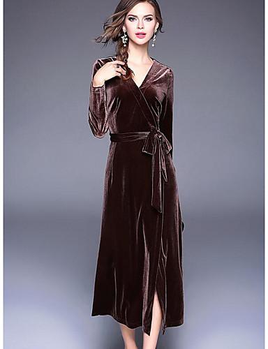 Damen Swing Kleid-Ausgehen Lässig/Alltäglich Solide V-Ausschnitt Midi Langarm Acryl Herbst Mittlere Hüfthöhe Mikro-elastisch Mittel