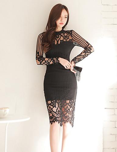 Damen Spitze Das kleine Schwarze Kleid-Lässig/Alltäglich Solide Ständer Knielang Langarm Polyester Mittlere Hüfthöhe Mikro-elastisch Dünn