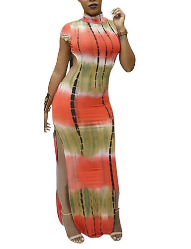 Damen Bodycon Kleid-Ausgehen Lässig/Alltäglich Sexy Druck Einfarbig Rundhalsausschnitt Volle Länge Kurzarm Polyester Mittlere Hüfthöhe