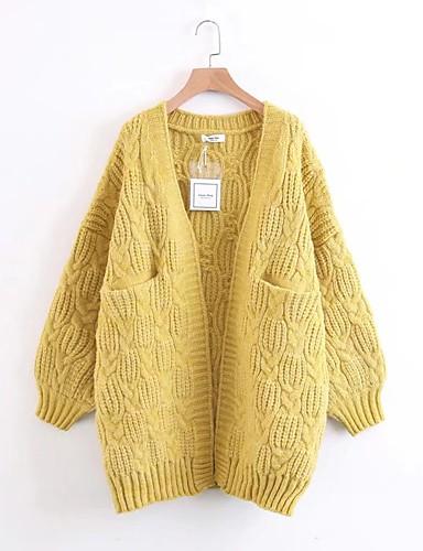 Damen Standard Strickjacke-Lässig/Alltäglich Ausgehen Solide Halter Langarm Baumwolle Andere Mittel Dünn Mikro-elastisch