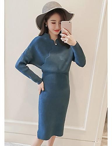 Damen Strickware Kleid-Lässig/Alltäglich Solide V-Ausschnitt Midi Knielang Langarm Acryl Mittlere Hüfthöhe Dehnbar Dick