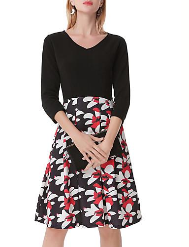 Damen A-Linie Kleid-Lässig/Alltäglich Ausgehen Einfach Street Schick Blumen Patchwork V-Ausschnitt Knielang 3/4 Ärmel Polyester Andere