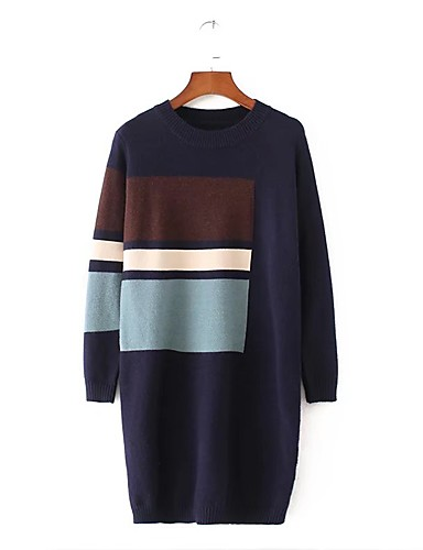Damen Lose Strickware Kleid-Ausgehen Lässig/Alltäglich Einfarbig Rundhalsausschnitt Knielang Langarm Wolle Baumwolle Andere Mittlere