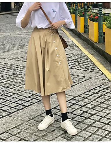 Damen Ausgehen Midi Röcke einfarbig Frühling