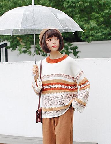 Damen Standard Strickjacke-Lässig/Alltäglich Einfarbig Rundhalsausschnitt Langarm Acryl Herbst Winter Mittel Mikro-elastisch