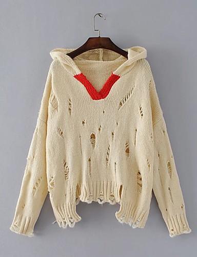Damen Standard Pullover-Ausgehen Lässig/Alltäglich Solide Einfarbig Mit Kapuze Langarm Wolle Baumwolle Andere Mittel Dick Mikro-elastisch