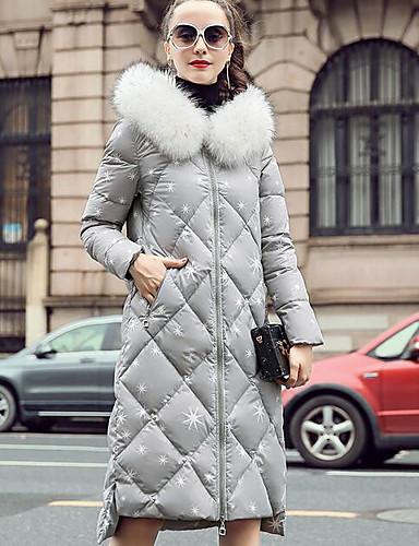 Damen Daunenjacke Mantel Einfach Lässig/Alltäglich Druck-Polyester Langarm