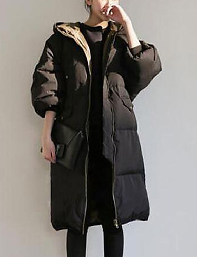 Dame Plusstørrelser Tynde I-byen-tøj Bomuld Lang Dynejakke - Ensfarvet, Klassisk Stil