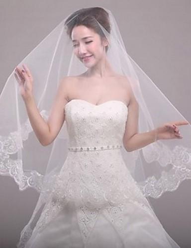 Monistyczny Styl nowoczesny Ślubny Księżniczka minimalistyczny styl Ślub Modern / Contemporary Welony ślubne Welony Elbow Z Haft nakładany