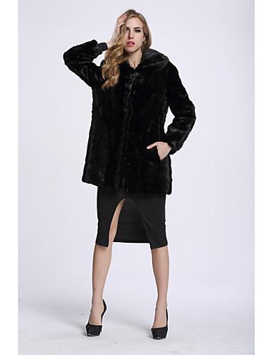 Damen Solide Einfach Freizeit Ausgehen Pelzmantel,V-Ausschnitt Winter Langarm Standard Fuchsfell