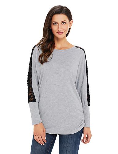 Damen Solide Aktiv Festtage Ausgehen T-shirt,Rundhalsausschnitt Langarm Polyester Elasthan Mittel