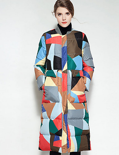 Damen Daunenjacke Mantel,Lang Retro Alltag Regenbogen-Polyester Langarm