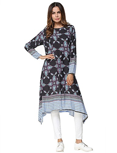 Damen Tunika Kleid Geometrisch Midi