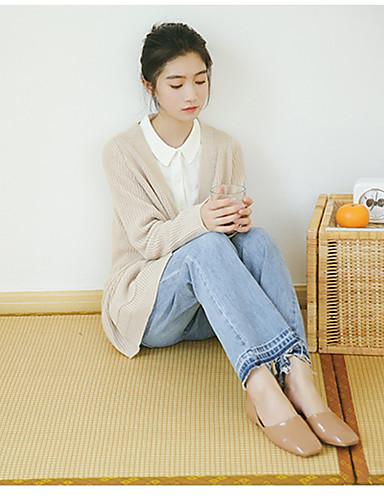 Damen Standard Strickjacke-Lässig/Alltäglich Einfach Solide V-Ausschnitt Langarm Baumwolle Herbst Mittel Mikro-elastisch