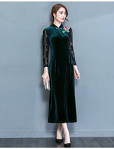 Damen Hülle Kleid-Ausgehen Solide Stickerei V-Ausschnitt Knielang Langarm Kunstseide Hohe Taillenlinie Mikro-elastisch Mittel