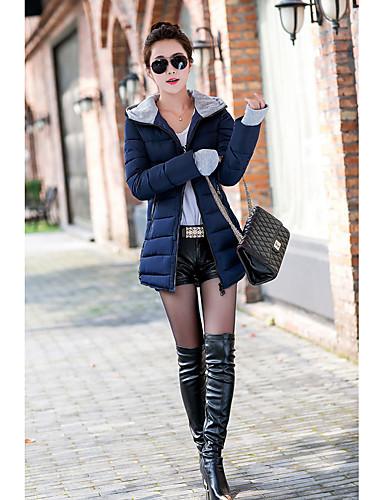 Damen Daunenjacke Mantel Freizeit Ausgehen Solide-Polyester Langarm