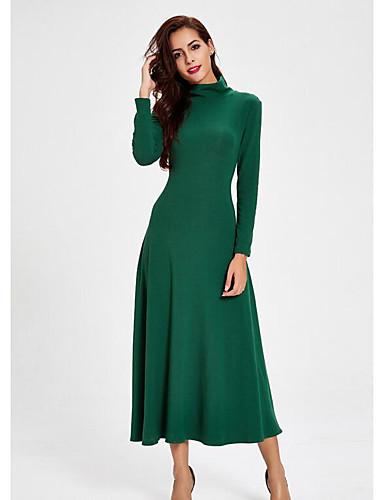 Damen Lose Kleid-Arbeit Solide Rundhalsausschnitt Midi Langärmelige Polyester Herbst Mittlere Hüfthöhe Mikro-elastisch Undurchsichtig