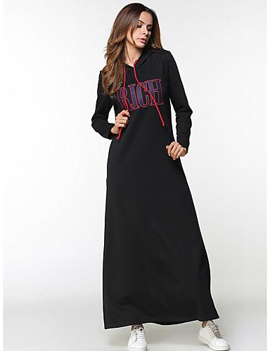 Damen Baumwolle Hülle Kleid Solide Buchstabe Maxi