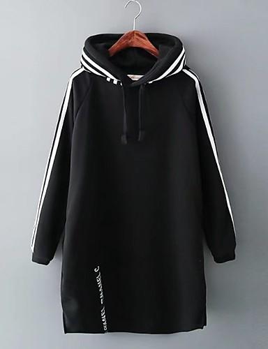 Damen Kapuzenshirt Lässig/Alltäglich Einfach Solide Gestreift Mikro-elastisch Baumwolle Andere